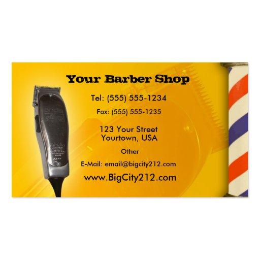 Barber Shop yellow design Business Card Templates