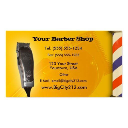 Barber shop yellow design double sided standard business for Barber shop business cards