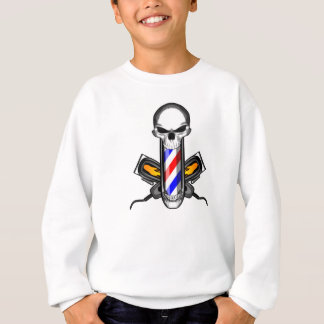 Barber Skull and Crossed Clippers Sweatshirt