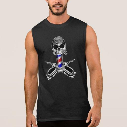 Barber Skull: Crossed Hair Clippers Sleeveless T-shirt Tank Tops, Tanktops Shirts