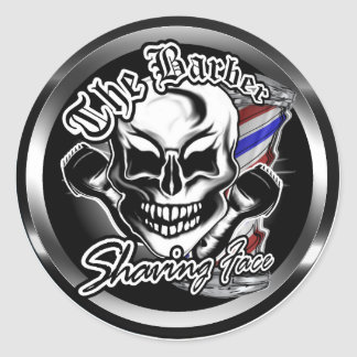 Barber Skull: Shaving Face Classic Round Sticker