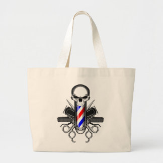 Barber Skull: Tools of the Trade Large Tote Bag