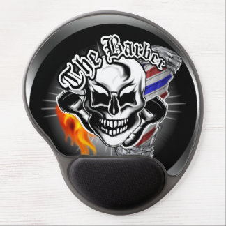 Barber Skull with Flaming Razor Gel Mouse Pad