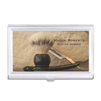 Barber Straight Edge Razor Shaving Brush Business Card Case
