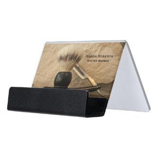 Barber Straight Edge Razor Shaving Brush Desk Business Card Holder