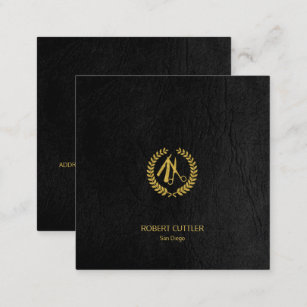 Barber Stylist Luxury Gold Black Leather Look Square Business Card