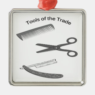 Barber Tools of The Trade Metal Ornament