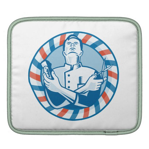 Barber With Clipper Hair Cutter and Scissors iPad Sleeves