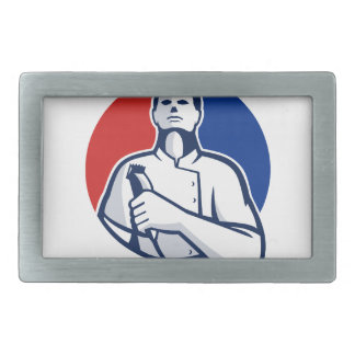 Barber With Hair Clipper Front Circle Retro Rectangular Belt Buckle