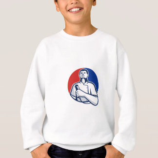 Barber With Hair Clipper Front Circle Retro Sweatshirt