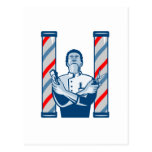 Barber With Pole Hair Clipper and Scissors Retro Post Card