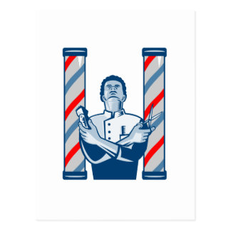 Barber With Pole Hair Clipper and Scissors Retro Postcard