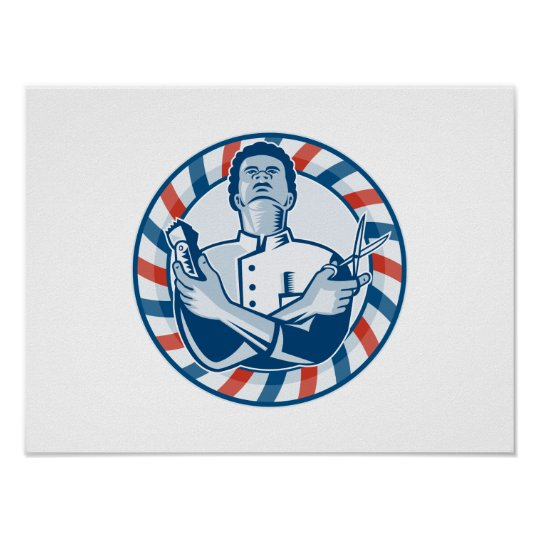 Barber With Pole Hair Clipper and Scissors Retro Poster