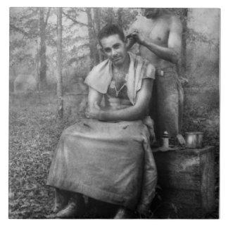 Barber - WWII - GI Haircut Large Square Tile