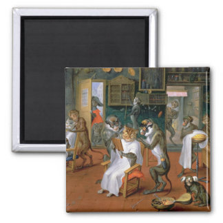 Barber's shop with Monkeys and Cats 2 Inch Square Magnet