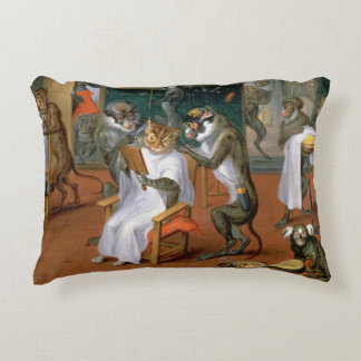 Barber's shop with Monkeys and Cats Accent Pillow