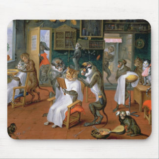 Barber's shop with Monkeys and Cats Mouse Pad