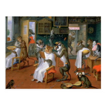 Barber's shop with Monkeys and Cats Postcard