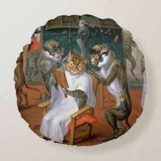 Barber's shop with Monkeys and Cats Round Pillow