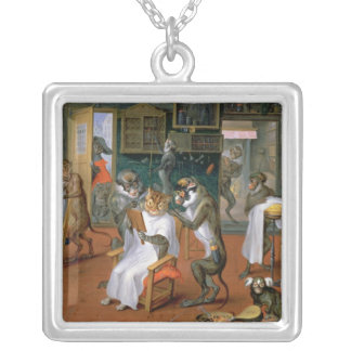 Barber's shop with Monkeys and Cats Silver Plated Necklace