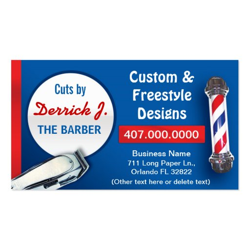 Barbershop barber barber pole and clippers business card for Barber business card