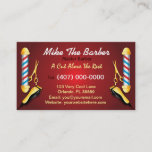 """Barbershop (Barber pole and clippers) Business Card<br><div class=""""desc"""">This is a CUSTOMIZABLE barbershop business card design. The design is represented by barbershop colors of blue and red. All artwork was created and illustrated by Dale Arthur of whizcreations.com.</div>"""