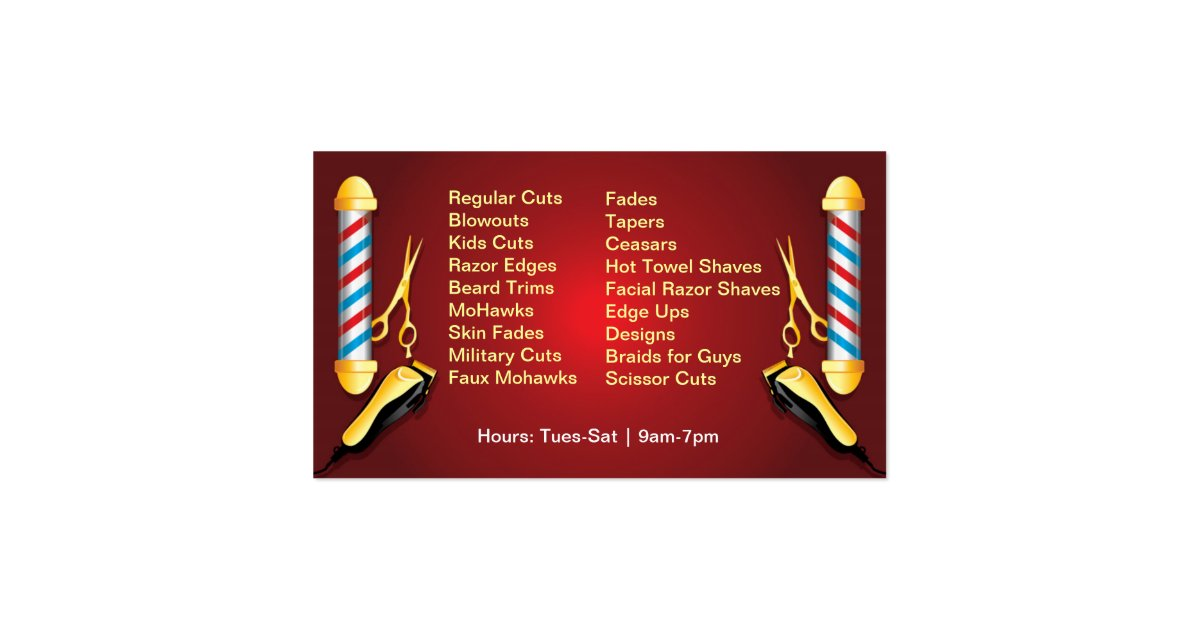 Barbershop barber pole and clippers business card zazzle for Barber shop business cards