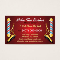 Barbershop (Barber pole and clippers) Business Card