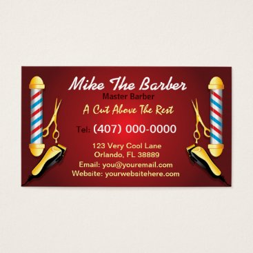 Professional Business Barbershop (Barber pole and clippers) Business Card
