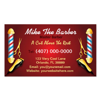 Barbershop (Barber pole and clippers) Double-Sided Standard Business Cards (Pack Of 100)