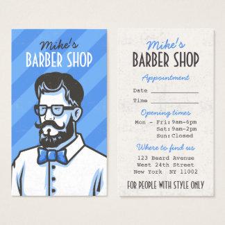 Barbershop blue stripes barber retro illustration business card