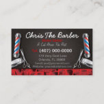 """Barbershop Business Card (Barber pole and clippers<br><div class=""""desc"""">This is a CUSTOMIZABLE barbershop business card design. The design is represented by barbershop colors of blue and red. All artwork was created and illustrated by Dale Arthur of whizcreations.net.</div>"""