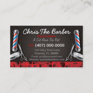 Barber business cards 600 barber business card templates barbershop business card barber pole and clippers cheaphphosting Images
