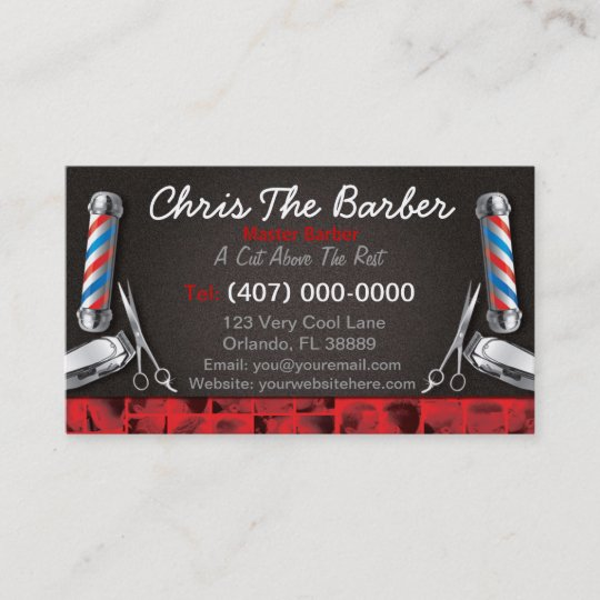 barbershop business card barber pole and clippers