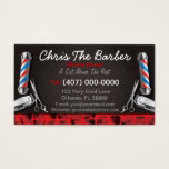 "Barbershop Business Card (Barber pole and clippers<br><div class=""desc"">This is a CUSTOMIZABLE barbershop business card design. The design is represented by barbershop colors of blue and red. All artwork was created and illustrated by Dale Arthur of whizcreations.net.</div>"