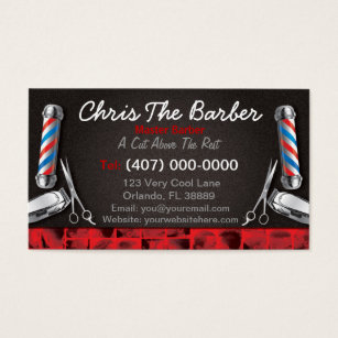 Barber business cards 600 barber business card templates barbershop business card barber pole and clippers wajeb Image collections