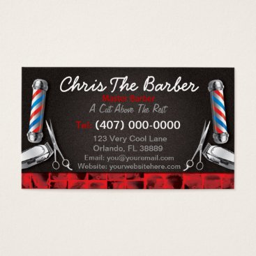 Professional Business Barbershop Business Card (Barber pole and clippers