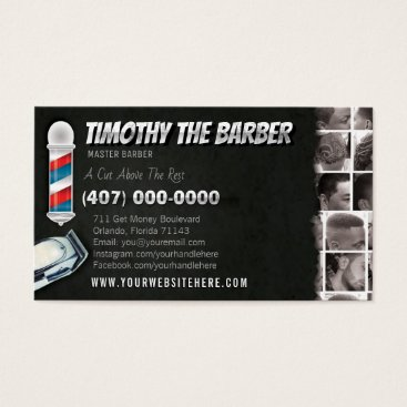 Professional Business Barbershop Business Card-Barber pole, clippers Business Card