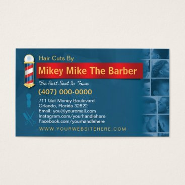Professional Business Barbershop Business Card-Barber pole, clippers com Business Card