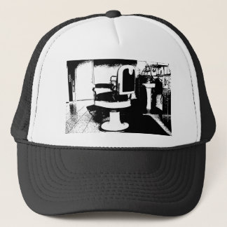 barbershop chair trucker hat