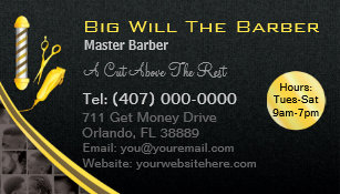 barbershop customizable barber pole clippers business card