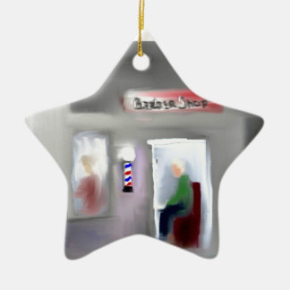 Barbershop Design Double-Sided Star Ceramic Christmas Ornament