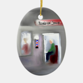 Barbershop Design Double-Sided Oval Ceramic Christmas Ornament
