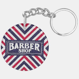 Barbershop Double-Sided Round Acrylic Keychain