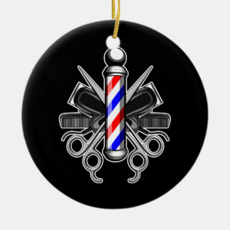 Barbershop Logo Double-Sided Ceramic Round Christmas Ornament