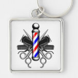 Barbershop Logo Silver-Colored Square Keychain