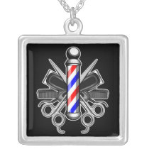 Barbershop Logo Silver Plated Necklace