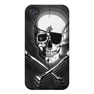 Barbershop Mirror Skull and Crossbones Cover For iPhone 4