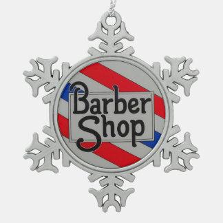 Barbershop Snowflake Pewter Christmas Ornament