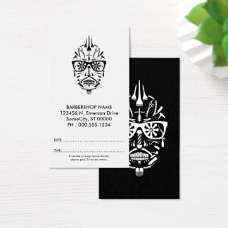barbershop punk calavera appointment card